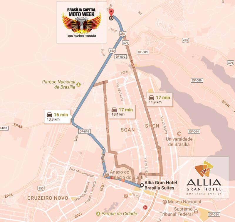 Mapa de localização do Allia Gran Hotel Brasília