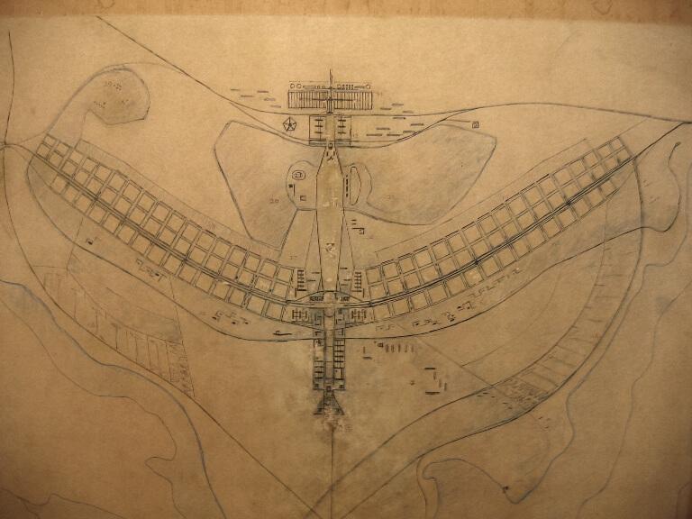 Um dos primeiros Planos Pilotos de Brasília por Lúcio Costa.