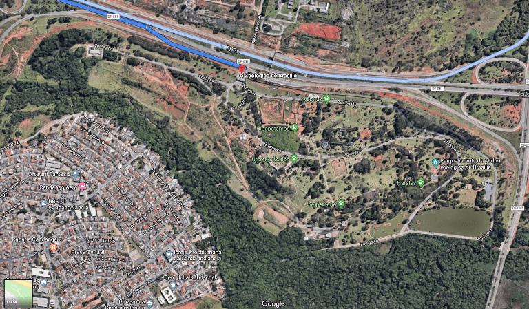 Imagem área do Zoológico de Brasília