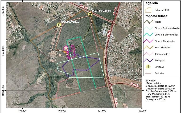 Mapa das trilhas no JBB