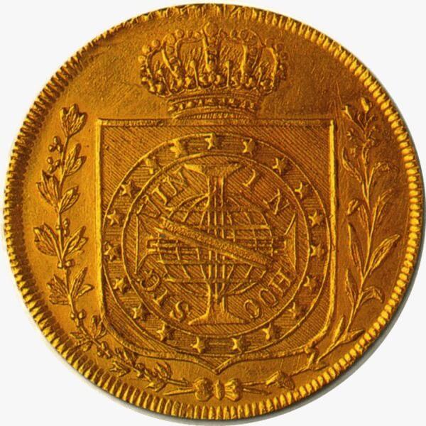 Moeda da coroação de Dom Pedro I, em 1822, como imperador do Brasil