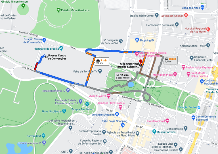 Mapa de distância do Centro de Convenções Ulysses Guimarães e o Allia Gran Hotel