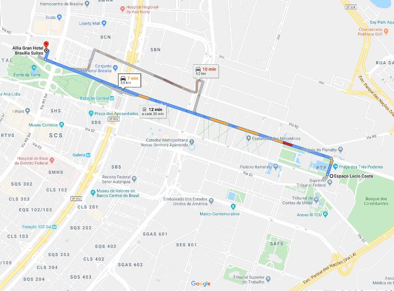 Mapa de distância do Espaço Lúcio Costa e o Allia Gran Hotel